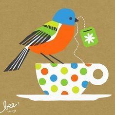 Painted Bunting art print by Bee Things Gravure Illustration, Illustration Art, Tee Kunst, Painted Bunting, Bunting Bird, Painted Birds, Tea Art, My Tea, Little Birds