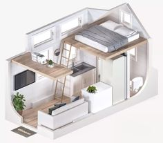 Small Apartment Plans, Small Apartment Interior, Small Apartments, Tyni House, Tiny House Living, Tiny House Trailer, Small House Plans, Cabana, Loft