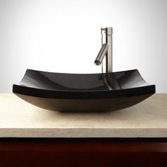 Buy the Signature Hardware 255487 Black Direct. Shop for the Signature Hardware 255487 Black Granite Vessel Bathroom Sink and save. Bathroom Accessories Luxury, Lavatory Sink, Sink Faucets, Black Curves, Wall Mount Faucet, Vessel Sink Bathroom, Black Granite, Light Granite, Steam Showers Bathroom
