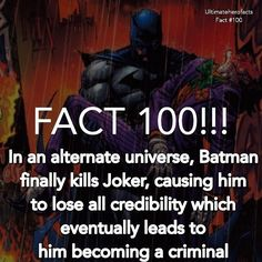 In the non-cannon comic JLA: The Nail it explores what would have happened if Superman never existed. So when Joker kills Dick Grayson and Barbara Gordon Superman wasn't there to stop the heartbroken Bruce from taking action --------------------------------------------100th FACT!!! Thanks for getting us here guys! Love you all --------------------------------------------#shoutout4shoutout #marvelfacts #dcfacts #Ultimateherofacts #herofacts #johnstewart #lantern #dcjokes #marveljokes #memes…