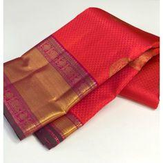 Wedding Silk Saree, Bridal Sarees, Red Wedding, Wedding Wear, Designer Silk Sarees, Silk Saree Blouse Designs, Kanchipuram Saree, Traditional Sarees, Red Silk