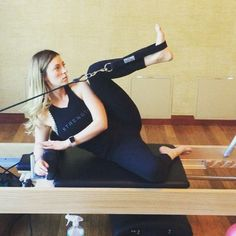 Side lying hip opener on the Pilates reformer is great for the inner thighs,
