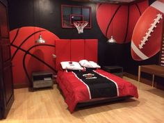 How cool is this sports themed bedroom!? This customer used a custom #mural to help complete this bedrooms look!