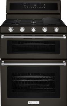 KitchenAid - 6.0 Cu. Ft. Self-Cleaning Freestanding Double Oven Gas Convection Range - Black stainless steel