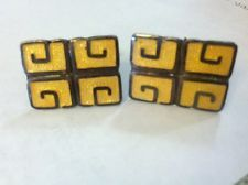 Margot De Taxco Sterling Silver Cufflinks Set Enamel Mexico Rare!