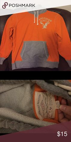 AEO Men's Hoodie American Eagle Outfitters hoodie orange and grey, size XL, in great condition! American Eagle Outfitters Shirts Sweatshirts & Hoodies