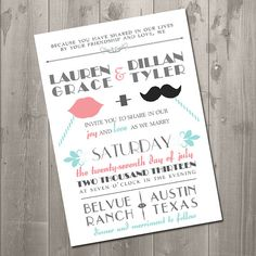 Vintage Mustache Wedding Invitation DIY by SimplySmittenDesigns, $15.00