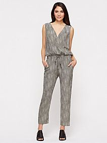 Surplice Ankle Jumpsuit in Chainette Printed Silk Crepe de Chine