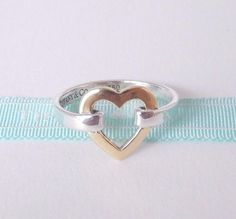 603e29502 Tiffany & Co Size 5 18k Yellow Gold Open Heart Sterling Silver Band Ring  #