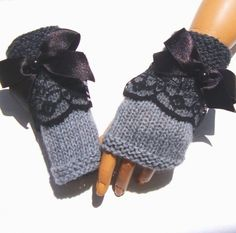 Knitted gray lace women winter fingerless gloves, mitten, arm warmer,gift for her. One size fits from teens to women. Please allow 1- 2 days between purchase and shipping. I'll send you the letter of confirmation along with the tracking number. Custom orders are always welcome. All items