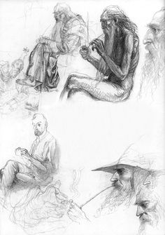 """Alan Lee """"The Lord of the Ring""""_sketchbook: Frodo and Gandalf. Alan Lee, Tolkien Books, Jrr Tolkien, Alchemy Art, Human Figure Drawing, Into The West, Principles Of Art, Fantastic Art, Middle Earth"""