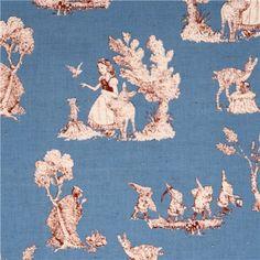 blue Snow White fairy tale Poplin fabric 2