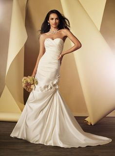 Balletts Bridal - 20928 - Wedding Gown by Alfred Angelo - AA - WG 2444 - strapless plain satin pleated bodice semi mermaid