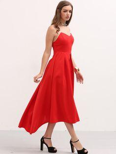 Vestido plisado asimétrico bandeau -rojo-Spanish SheIn(Sheinside)
