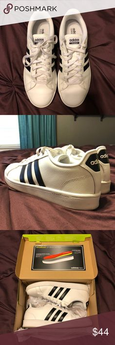 Like New: Adidas CF Advantage Sneakers White/Black Practically new (worn three times) white Adidas CF Advantage sneakers with black stripes in size 9.5 (I'm usually a 9 but bought a size up because the 9s felt a bit small.)  These have the crazy comfy Cloudfoam footbed...feels like your shoes are hugging your feet! These are super in style, I just realized they don't go with much that I wear and I was never wearing them! The soles get a bit dirty but I wiped them down with a Magic Eraser…