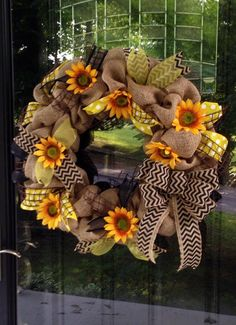Sunflowers and Burlap Door Wreath - Black Chevron, Yellow Polka Dot and Flowers