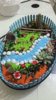 Beautiful 50 DIY Miniature Fairy Garden Ideas This Year Get crafty this summer and make your own whi Indoor Fairy Gardens, Mini Fairy Garden, Fairy Garden Houses, Gnome Garden, Miniature Fairy Gardens, Succulent Gardening, Succulents Garden, Popsicle Stick Houses, Fairy Garden Furniture