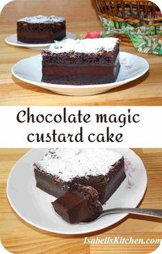 Chocolate Magic Custard Cake Recipe, Perfect Chocolate Cake, Magic Chocolate Cake, Magic Cake Recipes, Dessert Recipes, Brunch Recipes, Delicious Desserts, A 17, Melting Chocolate