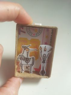 A Little Circus Miniature Diorama stamp images on shrinky dink plastic