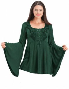 HolyClothing Rhiannon Renaissance Embroidered Lace-Up Bell Sleeve Tunic Top - Medium - Jade Green HolyClothing http://www.amazon.com/dp/B00M3D0WYQ/ref=cm_sw_r_pi_dp_KBUcub01FFEK8