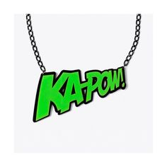KAPOW! Necklace ($29) ❤ liked on Polyvore featuring jewelry, necklaces, lucite chain necklace, chain necklace, lucite jewelry, acrylic jewelry and green jewelry