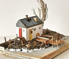 Stunning driftwood art by 😍 . Support the maker - double tap👍 . Small Wooden House, Reclaimed Wood Art, Creation Deco, Driftwood Crafts, Sea Art, Wood Creations, Beach Crafts, Miniature Houses, House In The Woods