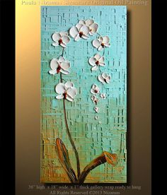 """Orchid Original Contemporary Textured Oil Floral Painting on canvas by P. Nizamas 36"""" ready to hang calm earth tones on Etsy, $280.00"""