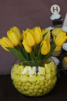 Do peeps and flowers for an Easter centerpiece.  A glass inside the glass vase keeps the flowers and water out of the surrounding decorations.