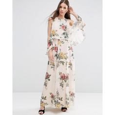 ASOS Extreme Cold Shoulder Floral Maxi Dress (175 BGN) ❤ liked on Polyvore featuring dresses, multi, high neck maxi dress, floral print maxi dress, maxi dresses, tall dresses and tall maxi dresses