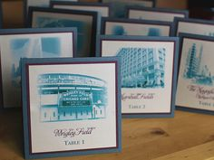 Table numbers with Chicago landmarks - could work well for Ann Arbor! Seating Plan Wedding, Wedding Table Numbers, Seating Plans, Wedding Centerpieces, Wedding Decorations, Wedding Ideas, Wedding Transportation, Field Wedding, Wrigley Field
