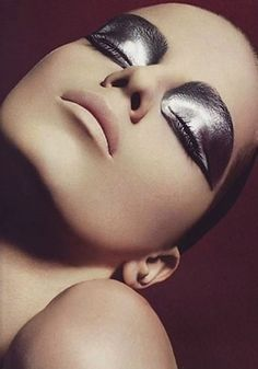 Silver Lamé Eyeshadow and Matte Pink Lipstick. Editorial Makeup.