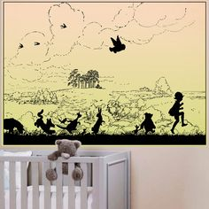 Winnie The Pooh PrintSilhouette of Pooh and by TheDutchHospitalArt