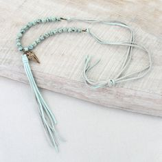 Seafoam Leather Tassel, Stone & Arrowhead Necklace – Seasons Jewelry - Retail