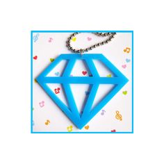 Light Blue Acrylic Diamond Necklace - Necklaces (long) - by cherryboop... ($16) ❤ liked on Polyvore