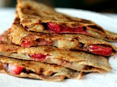 Delicious breakfast fruit quesadillas via ambitiouskitchen.com