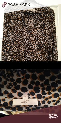 Beautiful Loft Leopard Blouse Great for work or to dinner. Pairs with black pencil skirt, black Ponte leggings, jeans and ankle boots! Take your pick! Easy wash and wear! LOFT Tops Blouses