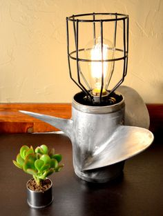 Boat Propeller Lamp with Industrial Edison by MidwestReStore