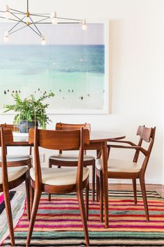 Bri Emery's New Living Room, designed by Emily Henderson, shot by Laure Joliet. Love the mid-century dining furniture! Style At Home, New Living Room, Living Spaces, Mid Century Dining, Interior Decorating, Interior Design, Interior Ideas, Decorating Ideas, Decor Ideas