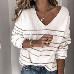 Loose Sweater, Long Sleeve Sweater, Punisher T Shirt, Casual Sweaters, Striped Sweaters, Jumpers For Women, Winter Tops For Women, Fall Sweaters For Women, Girls Sweaters