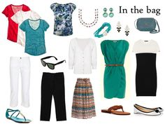 packing for a long weekend in red, black, white and teal
