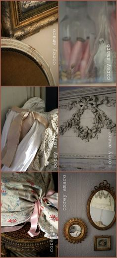Greige with touches of pink. French decorating from Brocantess,  her home in France & her favorite armoire, photos by Corey Armano.