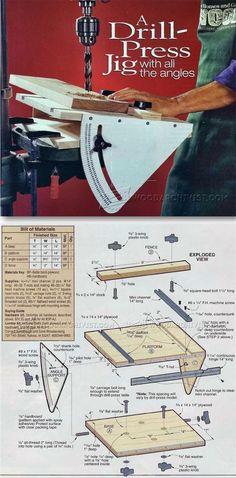 Drill Press Angle Jig - Drill Press Tips, Jigs and Fixtures | http://WoodArchivist.com
