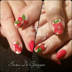 """Shellac (Hollywood & Studio White) with 3D nail art. Happy holidays everybody!!! #gelpolish #nailart #shellac #3D #holidaynails #christmasnails #nailure…"""