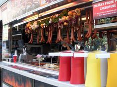 Wenceslas Square (Sausage Stands) sausage and fried cheese sandwich (on Anthony Bourdain no Reservations)