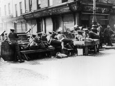 O.P.S Troops Man Barricades in the Streets of Dublin During the Easter Rising of 1916