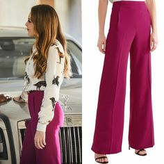 Fallon Carrington wears these pink Rouland Mouret trousers on Dynasty 1x01