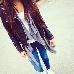love it casual outfit leather jacket denim jeans