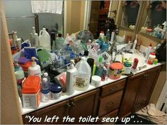 """""""You left the toilet seat up"""". Guys Vs Girls, Bored At Work, You Left, Vodka Bottle, Funny Pictures, Random Pictures, Toilet, Meme, Lol"""