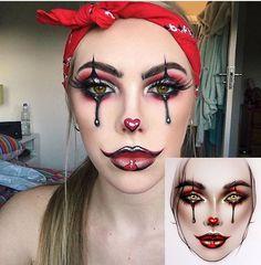 Black and burgundy Halloween makeup Halloween Makeup Clown, Halloween Inspo, Halloween Eyes, Clown Makeup, Halloween Kostüm, Costume Makeup, Chola Costume, Sexy Clown Costume, Jester Makeup