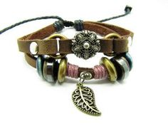 Soft Leather Bracelet Metal Flower Women's Leather by braceletcool